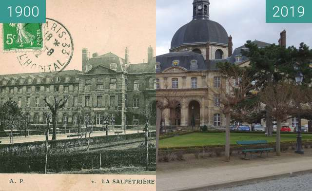 Before-and-after picture of Hôpital de la Salpêtrière between 1900 and 2019-Feb-11