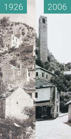 Before-and-after picture of Počitelj, Bosnia and Herzegovina 1926 vs. 2006 between 1926 and 08/2006