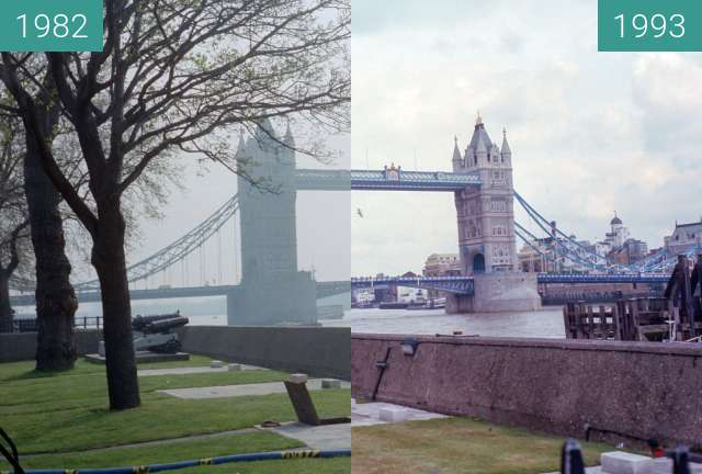 Before-and-after picture of Tower bridge between 1982 and 1993