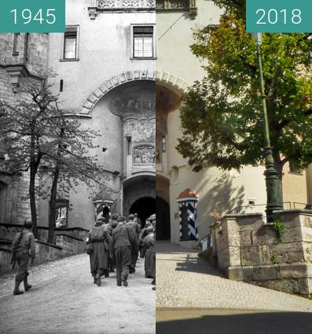 Before-and-after picture of Schloss Sigmaringen between 1945-Apr-23 and 2018-Sep-18