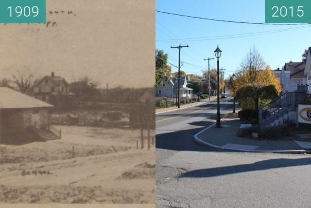 Before-and-after picture of Devon, Naugatuck Avenue between 1909 and 2015-Nov-04