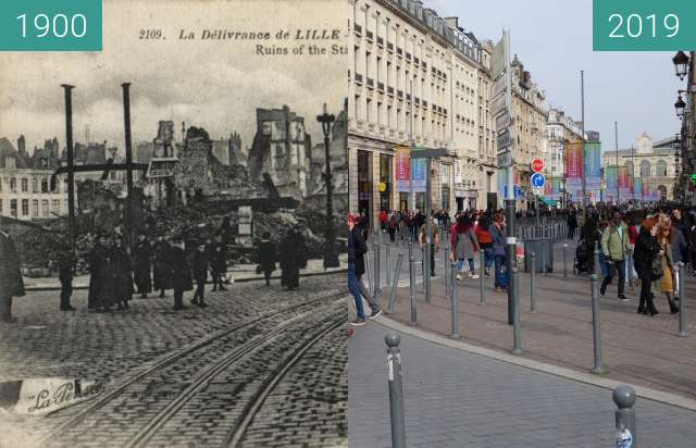 Before-and-after picture of Rue Faidherbe (WW1) between 1900 and 2019-Apr-06