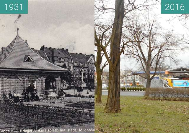 Before-and-after picture of Kriegerdenkmalplatz mit Milchausen  between 1931 and 2016