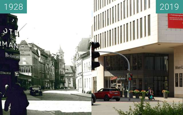 Before-and-after picture of Möserstraße between 1928 and 2019-Jun-22