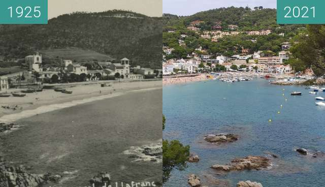 Before-and-after picture of Llafranc - Catalogne - Espagne between 1925 and 2021-Aug-06