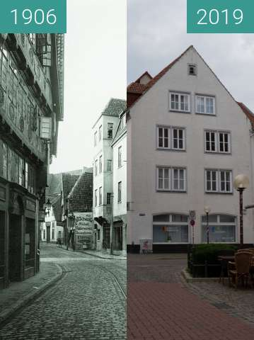 Before-and-after picture of Bierstraße Osnabrück between 1906 and 2019-Jun-21