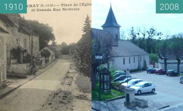 Before-and-after picture of place de la mairie between 1910 and 2008-Apr-25
