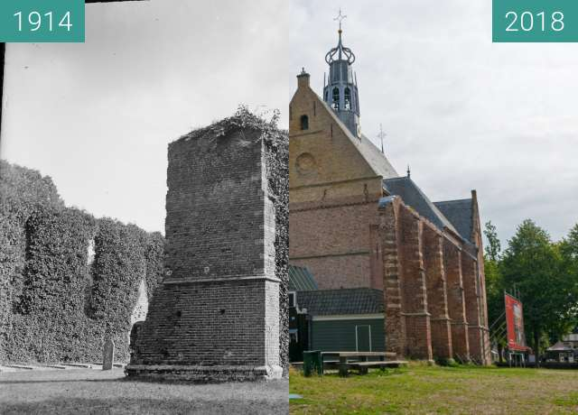 Before-and-after picture of The Ruin Church in Bergen (North Holland) between 1914 and 2018-Aug-15