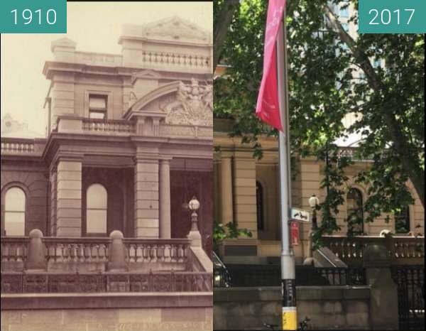 Before-and-after picture of Sydney Central Police Court between 1910 and 2017