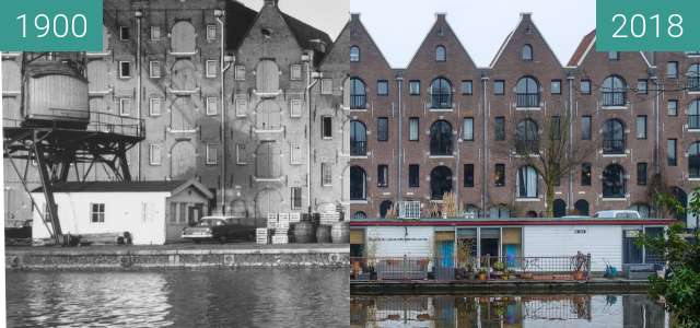 Before-and-after picture of Warehouses on the Entrepotdok between 1900 and 2018-Jan-04