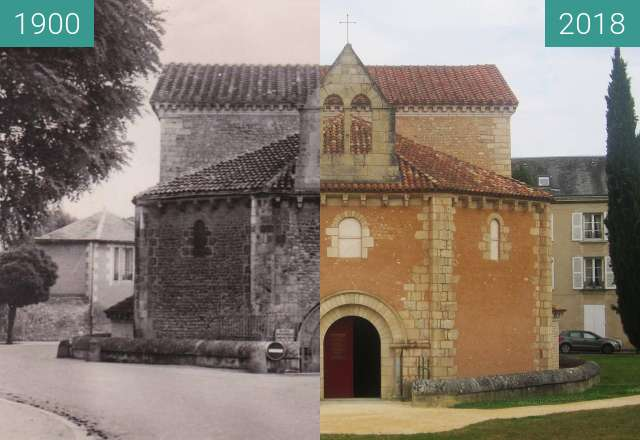 Before-and-after picture of St-Jean de Poitiers between 1900 and 2018-Jul-18