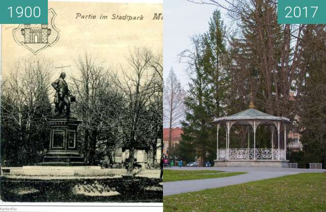 Before-and-after picture of City Park in Maribor, Slovenia between 1900 and 2017-Mar-20