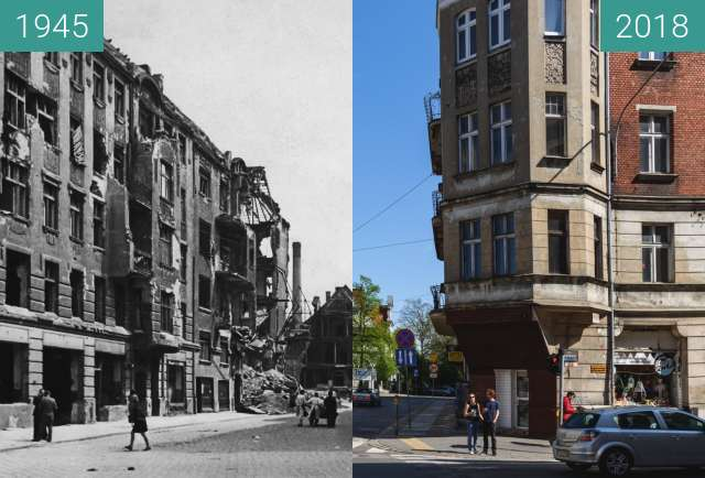 Vorher-Nachher-Bild von Ulica Grobla zwischen 1945 und 2018