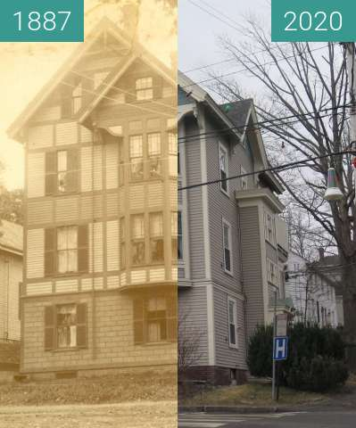 Before-and-after picture of Francis Whitmore House Belfast, Maine between 1887 and 2020