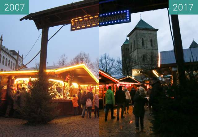 Before-and-after picture of Osnabrücker Weihnachtsmarkt between 2007-Dec-08 and 2017-Dec-08