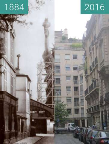 Before-and-after picture of Rue de Chazelles between 1884 and 2016