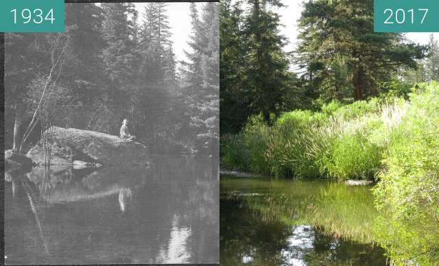 Before-and-after picture of Swimming pond, Boxelder Forks Campground, 1934 between 10/1934 and 2017-Jul-16