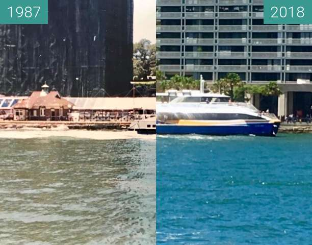 Before-and-after picture of East Circular Quay between 1987 and 2018-Feb-05