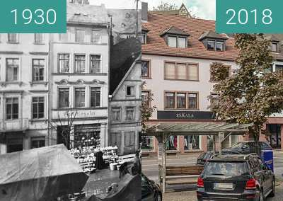 Before-and-after picture of Aschaffenburg - Freihofsplatz between 1930 and 2018