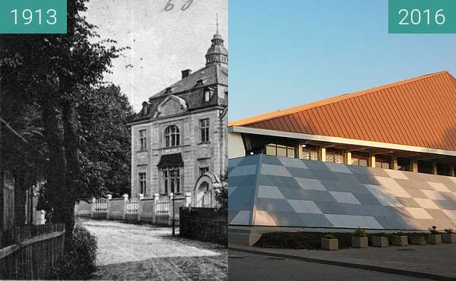 Before-and-after picture of Mozartstrasse - Loge Wilhelm zur Wahrheit und Tuge between 1913 and 2016