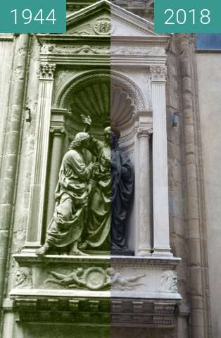 Before-and-after picture of Florence, Italy 1944/2018, Church of Orsanmichele between 07/1944 and 2018-May-19