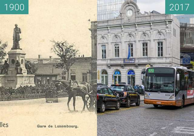 Before-and-after picture of Bruxelles-Luxembourg Station between 1900 and 2017-Apr-13
