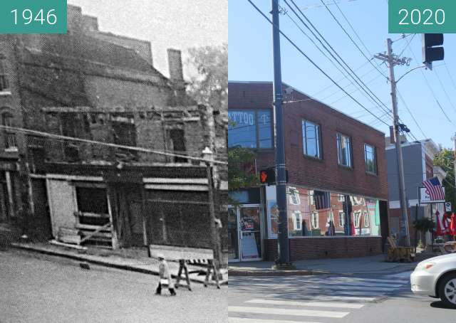 Before-and-after picture of The Corner of Main & High Streets, Belfast, Maine between 1946 and 2020