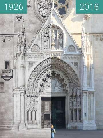Vorher-Nachher-Bild von Zagreb Cathedral 1926 vs. 2018 zwischen 1926 und 27.12.2018