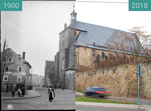 Before-and-after picture of Moritzkirche between 1900 and 2018-Dec-15