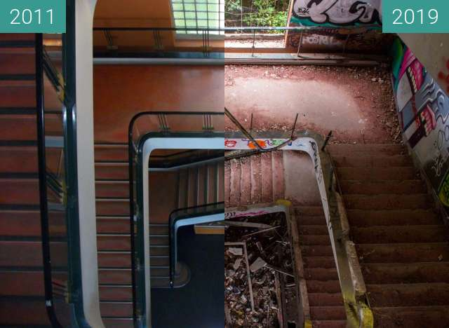 Before-and-after picture of Escalier principal Institut Dolomieu between 2011-May-06 and 2019-Aug-12