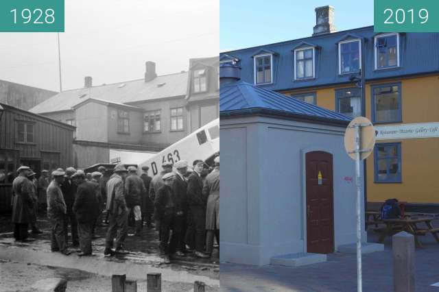 Before-and-after picture of Hafnarstræti 15 between 06/1928 and 2019-May-27