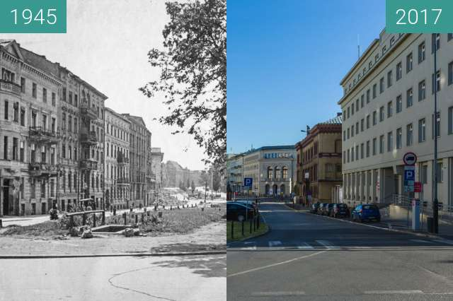 Before-and-after picture of Aleje Marcinkowskiego between 1945 and 2017-Jun-02