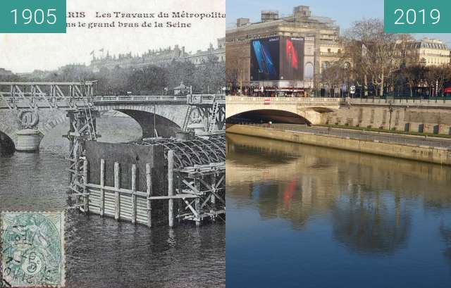 Before-and-after picture of Pont au Change between 1905 and 2019-Feb-16