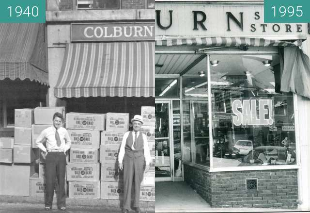 Before-and-after picture of Colburn Shoe Store Belfast, Maine between 1940 and 1995