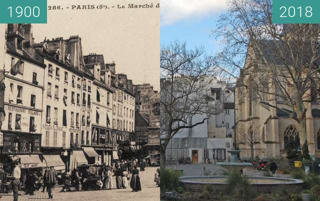Before-and-after picture of vue du marché de la rue Mouffetard between 1900 and 2018-Feb-04
