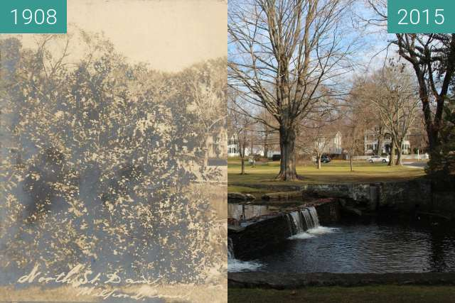Before-and-after picture of North Street Falls, Milford, Connecticut, USA between 1908 and 2015