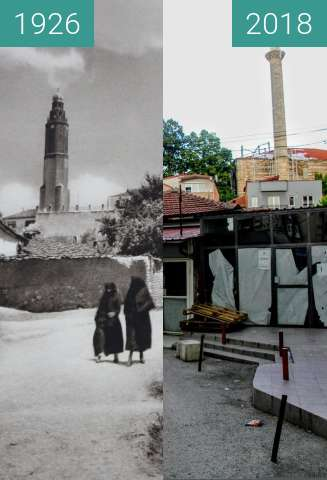Before-and-after picture of Skopje, Sultan Murad Mosque and Saat-Kula between 1926 and 2018-Jun-17