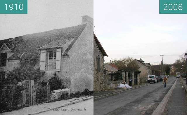Before-and-after picture of Rue du canal between 1910 and 2008-Jan-23