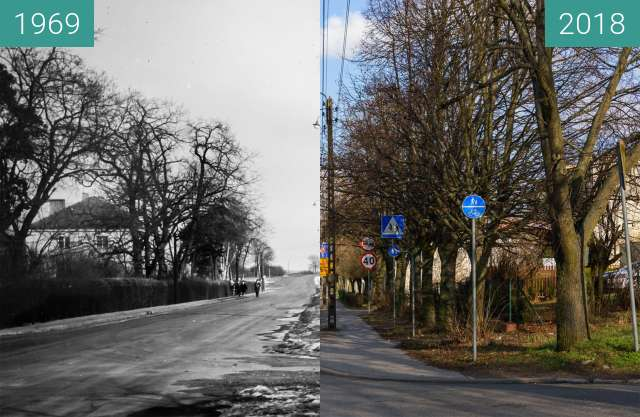 Before-and-after picture of Ulica Biskupińska between 1969 and 2018-Feb-02