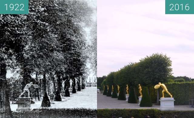 Before-and-after picture of Gartentheater Herrenhausen between 1922 and 2016-Sep-16