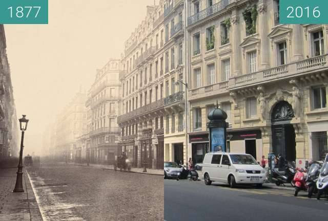 Before-and-after picture of Rue du 4 septembre between 1877 and 2016-Jun-24