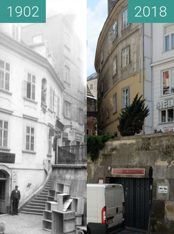 Before-and-after picture of Hafnersteig between 1902 and 2018-Apr-30