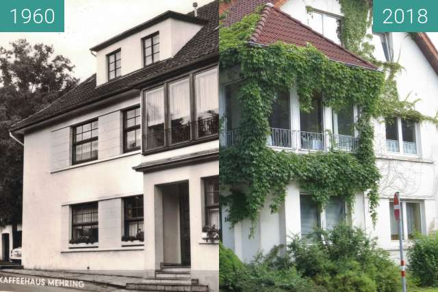 Before-and-after picture of Café Mehring between 1960 and 2018-Jul-04