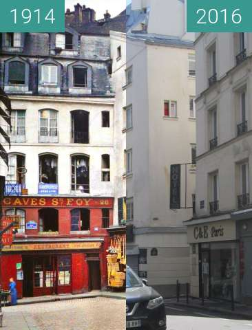 Before-and-after picture of Rue Chénier between 1914 and 2016-Apr-03