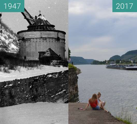 Before-and-after picture of Andernach Alter Kran between 1947 and 2017-Jun-11