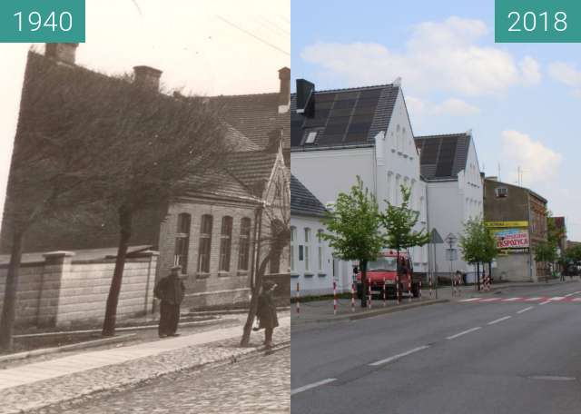 Before-and-after picture of Szkoła Podstawowa im.Marii Konopnickiej w Wągrowcu between 1940 and 2018