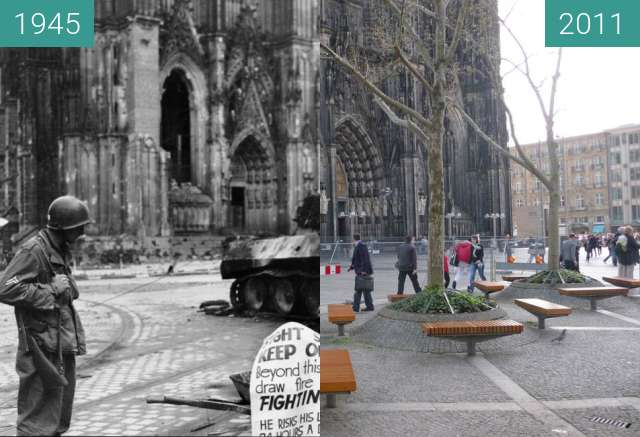 Before-and-after picture of Köln Domplatte 1945/2011 between 1945-Apr-04 and 04/2011