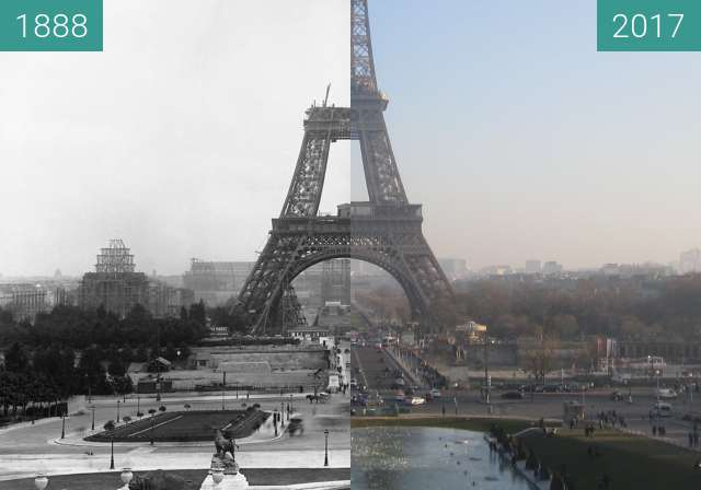 Before-and-after picture of Tour Eiffel between 09/1888 and 2017-Jan-26