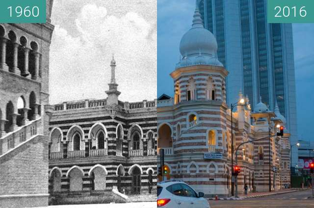 Before-and-after picture of Former Railway Offices - now Textile Museum between 1960 and 2016-Jul-22