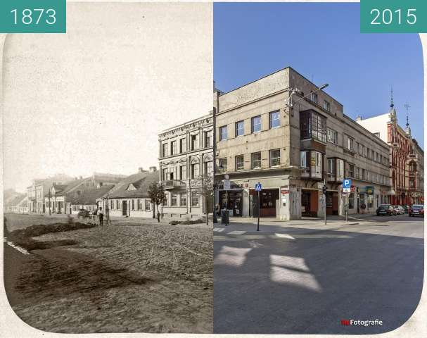 Before-and-after picture of Ludwig's House and Weavery between 1873 and 2015